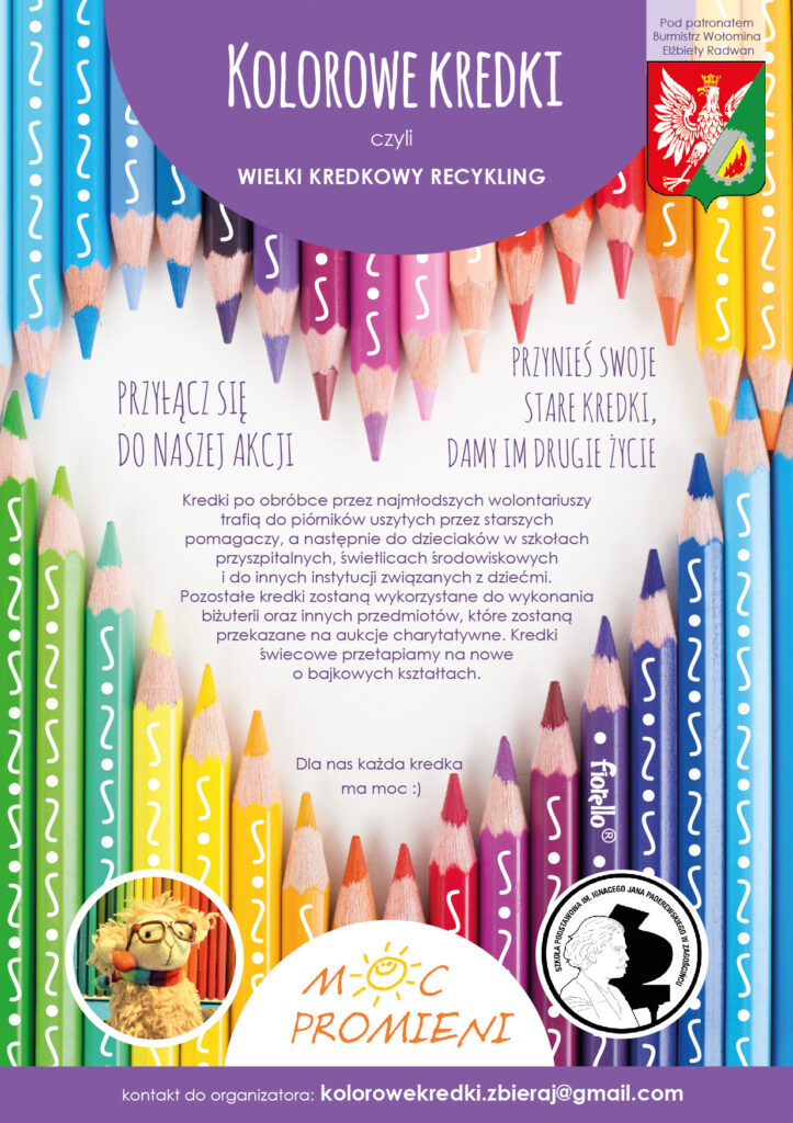 """Plakat informacyjny dotyczący akcji """"Kolorowe kredki"""""""